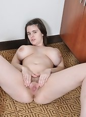 Busty brunette Destiny S needs a break from her busy life. A cup of tea warm her up and makes her horny enough to strip off on the bench and finger he